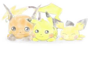 Pichu, Pikachu and Raichu by Eskerra