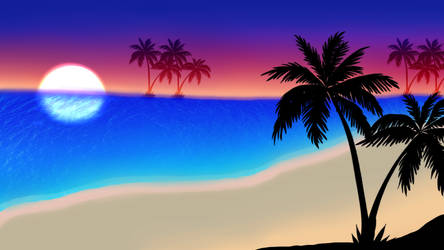 (Free to use) Sunset on the beach Background by NatalieGuest