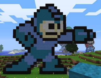 Minecraft Mega Man Statue by myvideogameworld