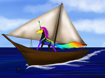 Land Quest - Windy - Sailing over the sea by DamienMuerte