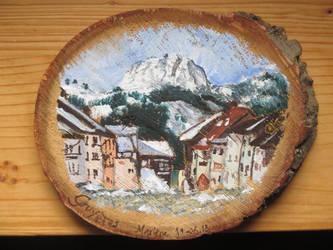 Gruyeres woodpainting by Alpacalligraphy