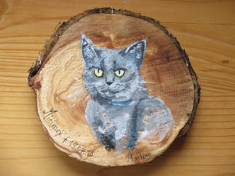 A glorious cat woodpainting by Alpacalligraphy