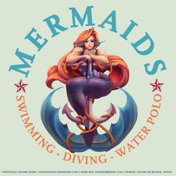 COMMISSION: Mermaids - Swimming Club Logo by DasGnomo