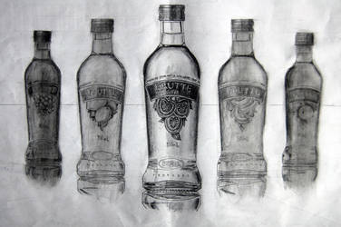 Bottles on pencils by appledaniels