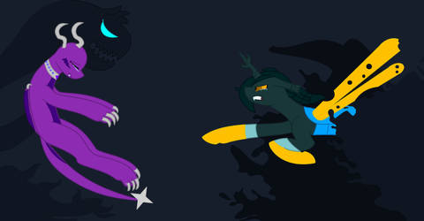 Merva trap in darkness with shadow creature by BluethornWolf