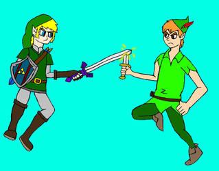 Link v.s. Peter Pan  by EdEddnEddy3456