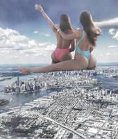 Double mega giantess(Jen and Stephanie Selter) by eheh78