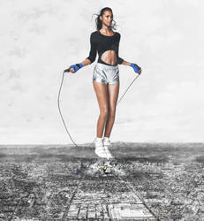 giantess lais ribeiro jumping the rope in LA by eheh78