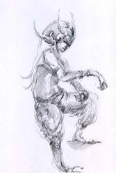 Demonic-bird-woman-sketch by Joinerra