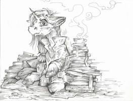 BookWorm (Line Art) by Taski-Guru