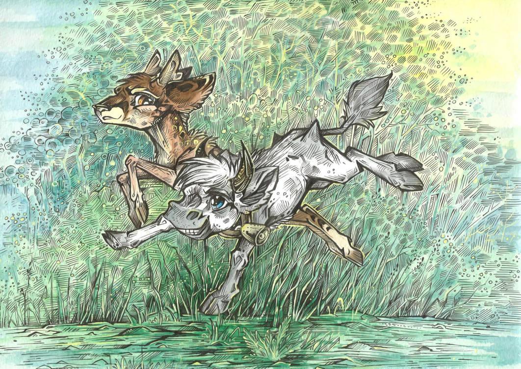 Fawn and Calf by Taski-Guru