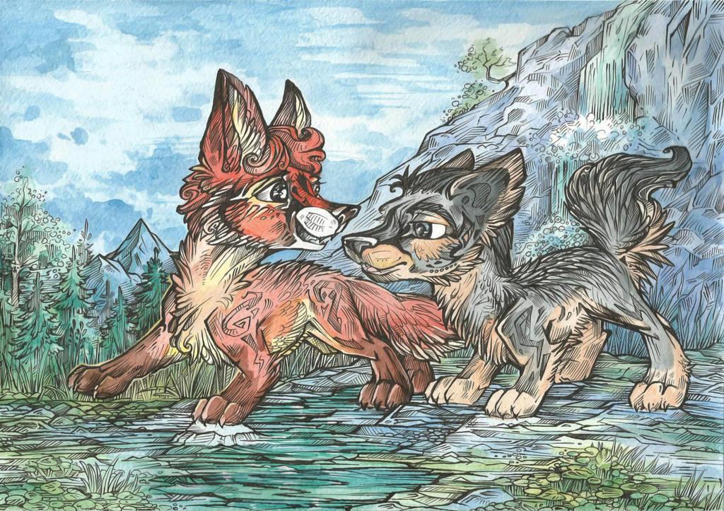 Red Fox and Gray Fox by Taski-Guru