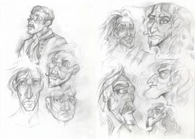 George Darling and Captain Hook sketches by Taski-Guru