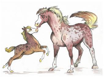 Horse (Mother and Child) Adopt #17 (8$) [SOLD] by Taski-Guru
