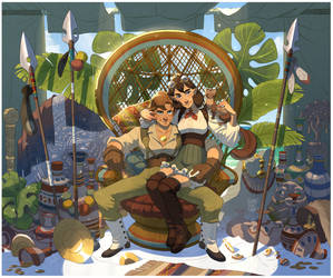 Fantasy setting archaeologists by Inimeitiel-chan