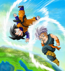 Goten and Trunks Flying by Risachantag