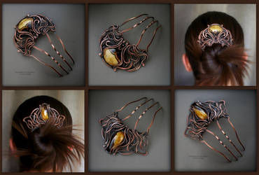 Copper combs with calcite by KL-WireDream