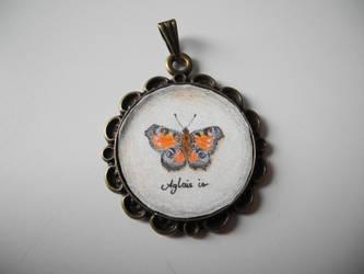 Peacock butterfly pendant by asa-baijan