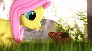 Fluttershy found a Bunny by MelodyCloud14