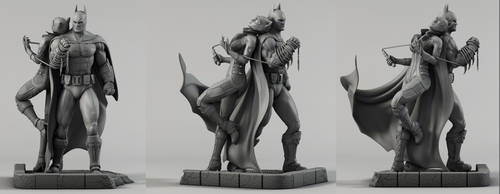 BatMan Catwoman Diorama by AYsculpture