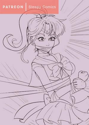 Sailor Jupiter Bondage Line Art Preview by sleepy-comics