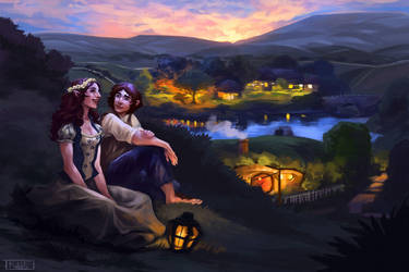 Dusk In the Shire (commission) by kallielef