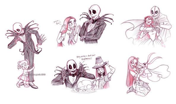 jack and sally sketches by briannacherrygarcia