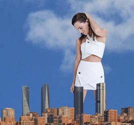 Giantess Emma Watson dressed in white. by Alberto62