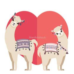 Llama and Alpaca with love by AnnArtshock