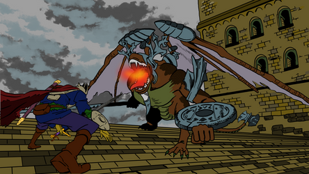 knight vs. gargoyle by titano88