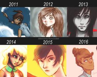 2012-2016 Art Comparison by LittleMsArtsy