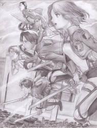 Anime Drawing - Shingeki no kiojin by Sukendo