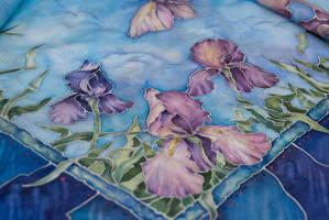 Irises on skarf, fragment by ireneya