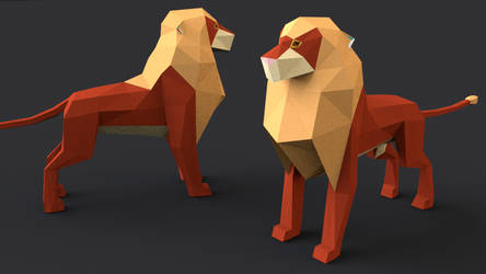 low-poly lion by AbdouBouam