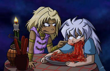 Spaghetti with Marik and Bakura by ammy275