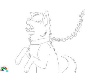.Chained Wolf Base. by Fireyami