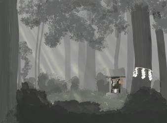 Hidden Shrine by laughingcrowart
