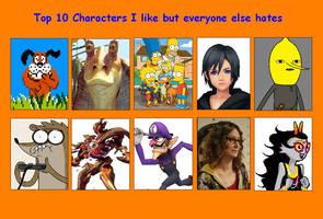 Top 10 Characters I like but everyone else hate by Skapokon