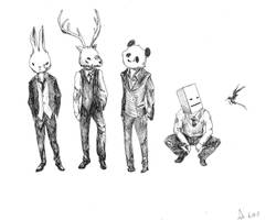 animal heads with suits by amyhattori