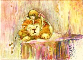 Lion sleeps by amyhattori