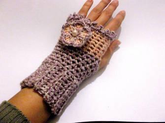 Flower Fingerless Gloves Crochet Pattern by PatternStudio