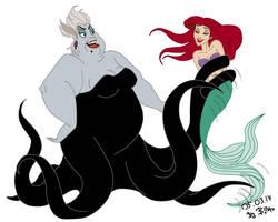 Ariel and ursula, for cegi93 by SerisaBibi