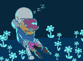 Scootaloo and Sans sleeping in Waterfall by synnibear03