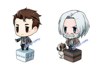 Hank and Connor FF Pictlogica style by Edo--sama