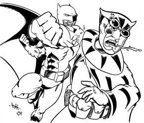 Batman vs Nite Owl by Hofling