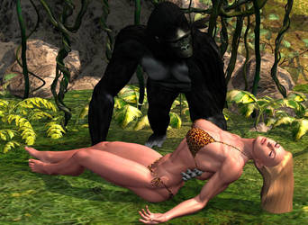 gorilla and jungle girl by vesubio79dc