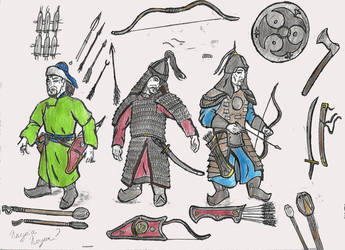 Mongol armour and weapon collection by TheJackmeister