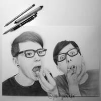 dan and phil eating pop corn by goodbyenatasha