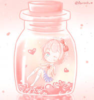 sayori in a jar of hearts by Asurachu