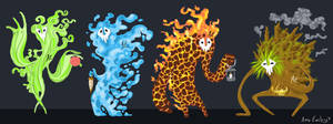 Elemental Colossi by Turtle-Arts